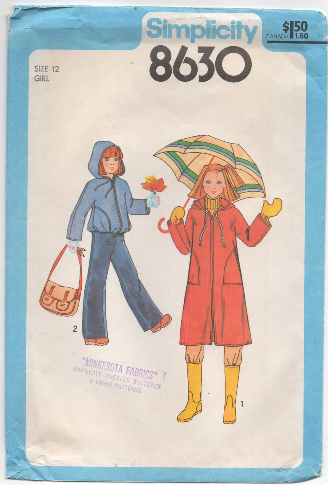 "1970's Simplicity Girl's Unlined Hooded Coat or Jacket - Bust 30"" - No. 8630"