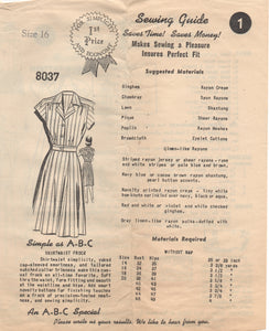 "1940's Mail Order Shirtwaist Dress with Cap Sleeves - Bust 34"" - No. 8037"