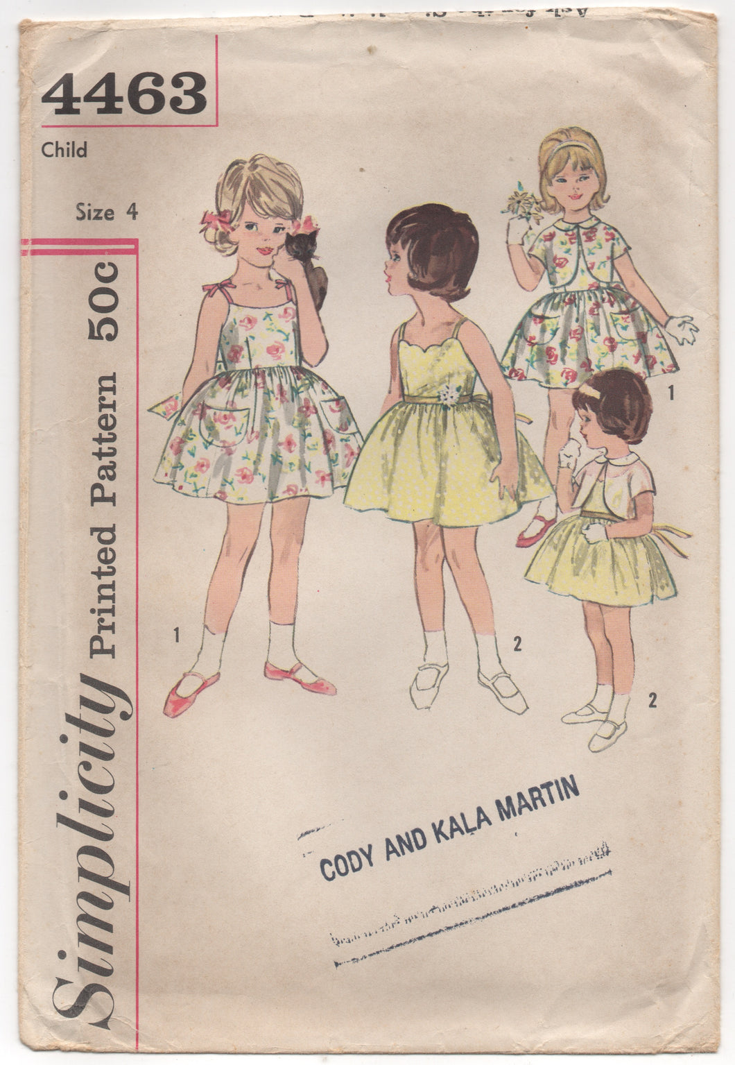 1960's Simplicity Girl's One Piece Sundress with Bolero Pattern - UC/FF - Bust 23