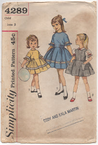 "1960's Simplicity Girl's One Piece Dress with Tie Sash Pattern - Chest 22"" - No. 4289"
