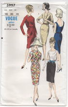 "1960's Vogue One Piece Dress with high collar and deep back- Bust 36"" - UC/FF - No. 5997"