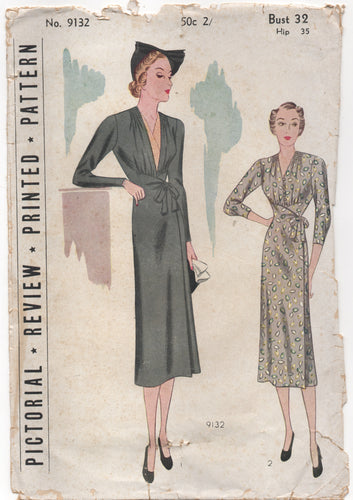 "1930's Pictorial One Piece Maternity Dress with Gathered Front & wrap skirt - Bust 32"" - No. 9132"