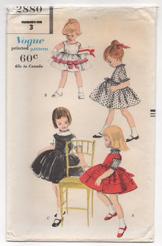 1960's Vogue Girl's One Piece Dress and Jumper Dress - 3yrs - UC/FF - No. 2880