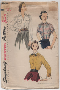 "1950's Simplicity Button-Up Shirt with softly gathered shoulders - Bust 30"" - No. 3656"