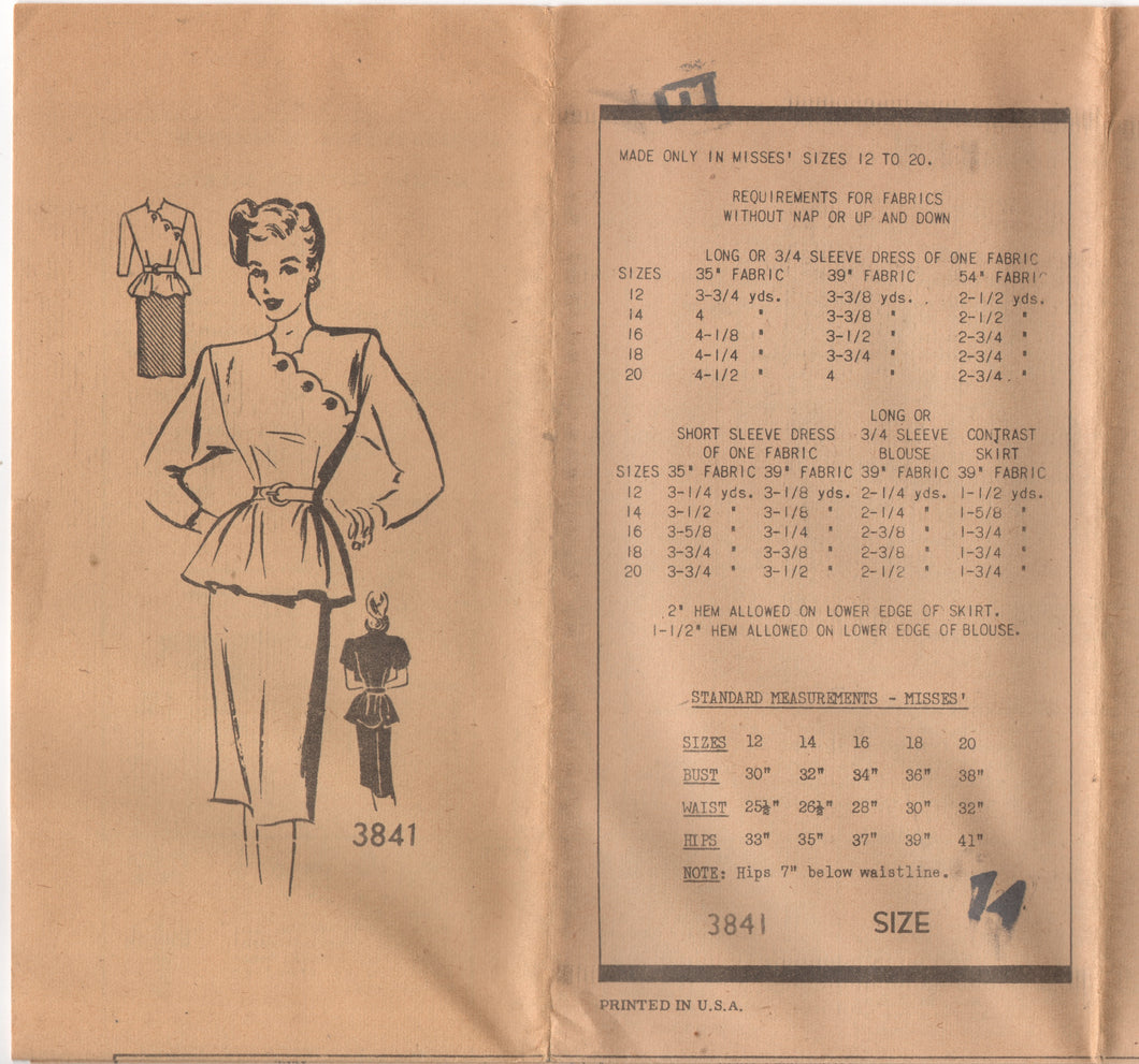 1940's Mail Order Two Piece Dress with Scallop Crossover and Peplum - Bust 32