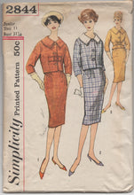 "1950's Simplicity Two Piece Suit with Detachable Collar & Slim Skirt Pattern - Bust 31.5"" - No. 2844"