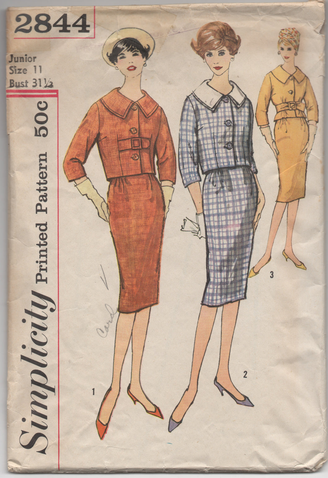 1950's Simplicity Two Piece Suit with Detachable Collar & Slim Skirt Pattern - Bust 31.5