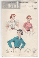 "1950's Butterick Button up Shirt with Moulded Shoulders and Gathers - Bust 30"" - No. 7329"