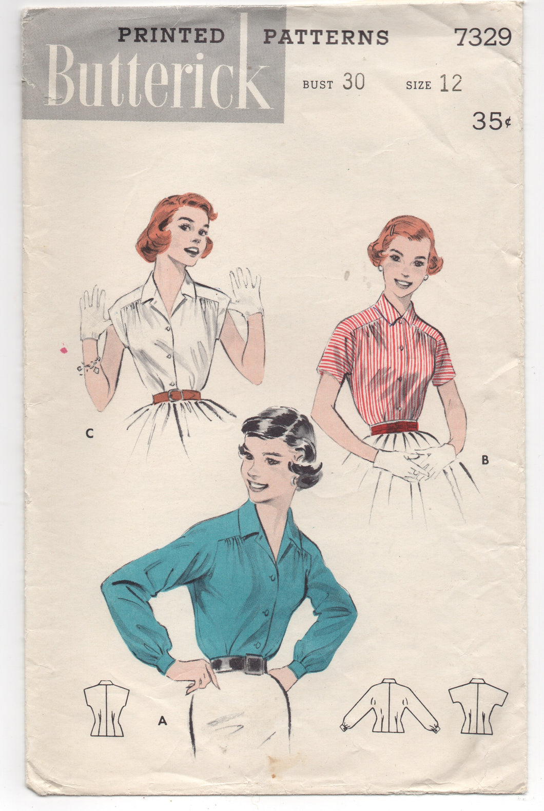 1950's Butterick Button up Shirt with Moulded Shoulders and Gathers - Bust 30