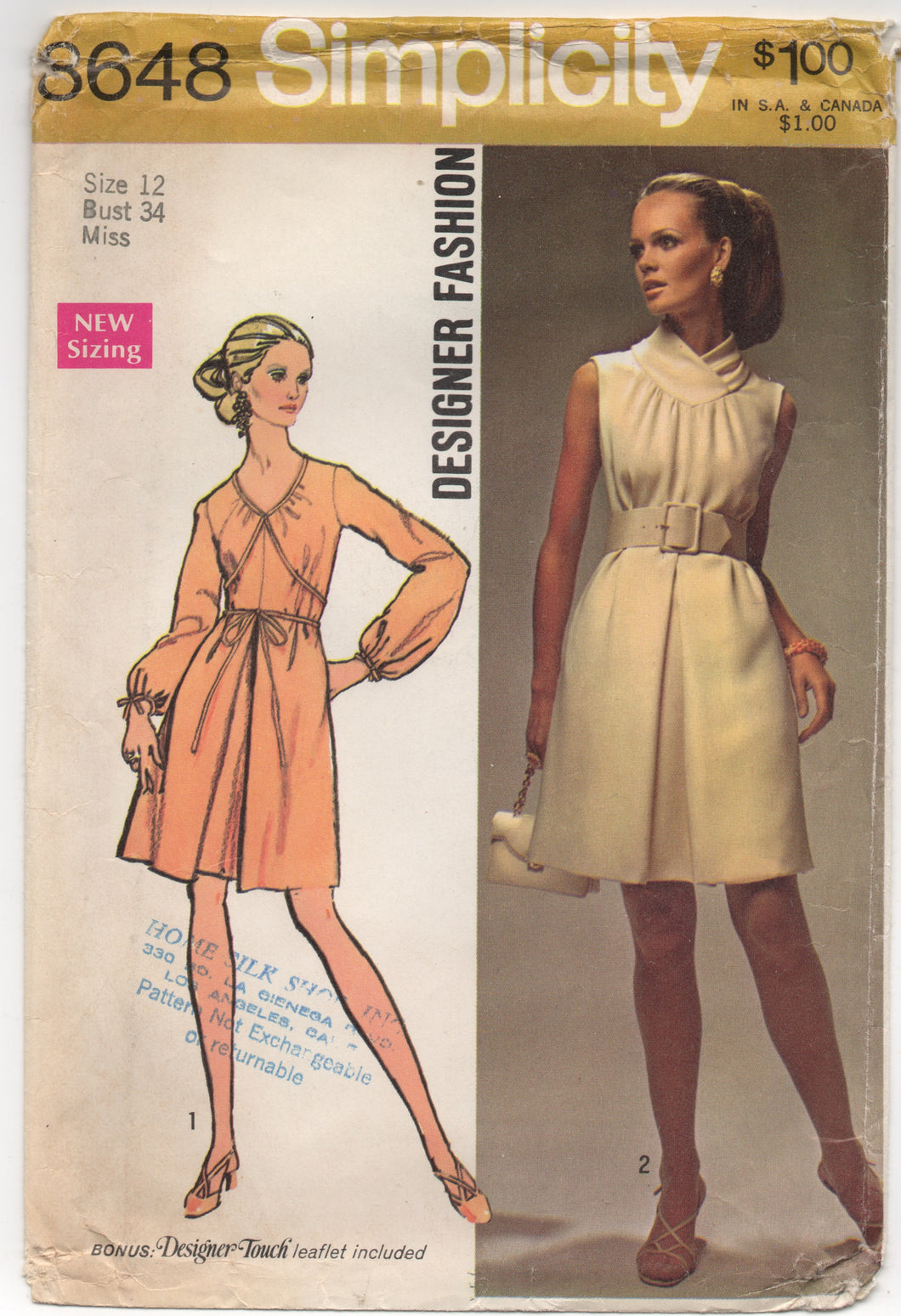 1960's Simplicity Designer One Piece Dress with Surplice Collar Pattern - Bust 34
