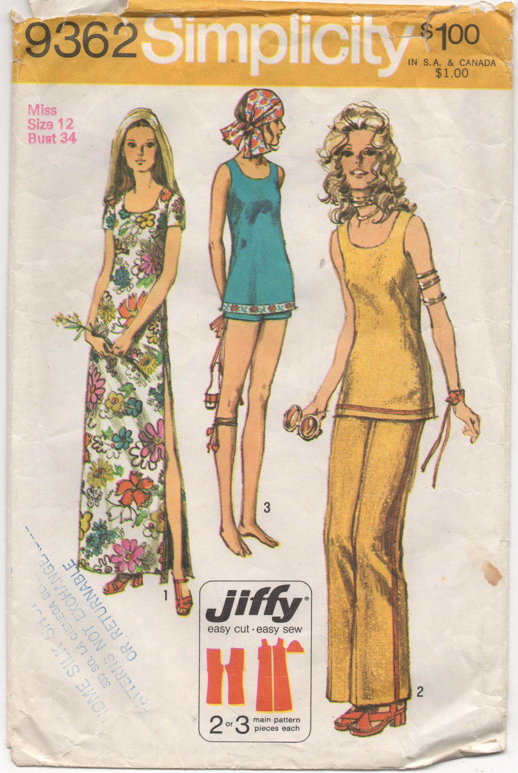 1970's Simplicity Dress with open sides, Tunic, Pants or Shorts Pattern - Bust 34