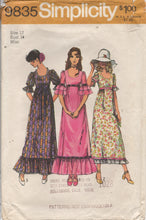 "1970's Simplicity Maxi Dress with Ruffled Sleeves and Hem - Bust 34"" - No. 9835"