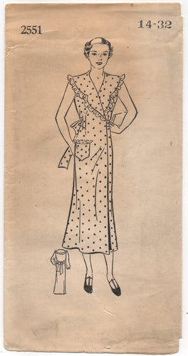1930's Mail Order Wrap Hooverette Dress with Bow Back - Bust 32