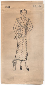 "1930's Mail Order Wrap Hooverette Dress with Bow Back - Bust 32"" - UC/FF - No. 2551"