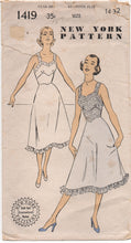 "1950's New York Slip with Lace Camisole Pattern - Bust 32"" - No. 1419"