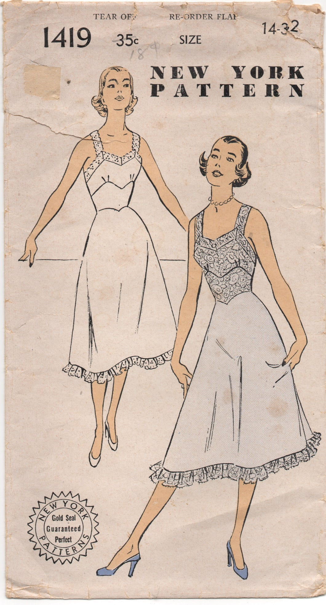 1950's New York Slip with Lace Camisole Pattern - Bust 32