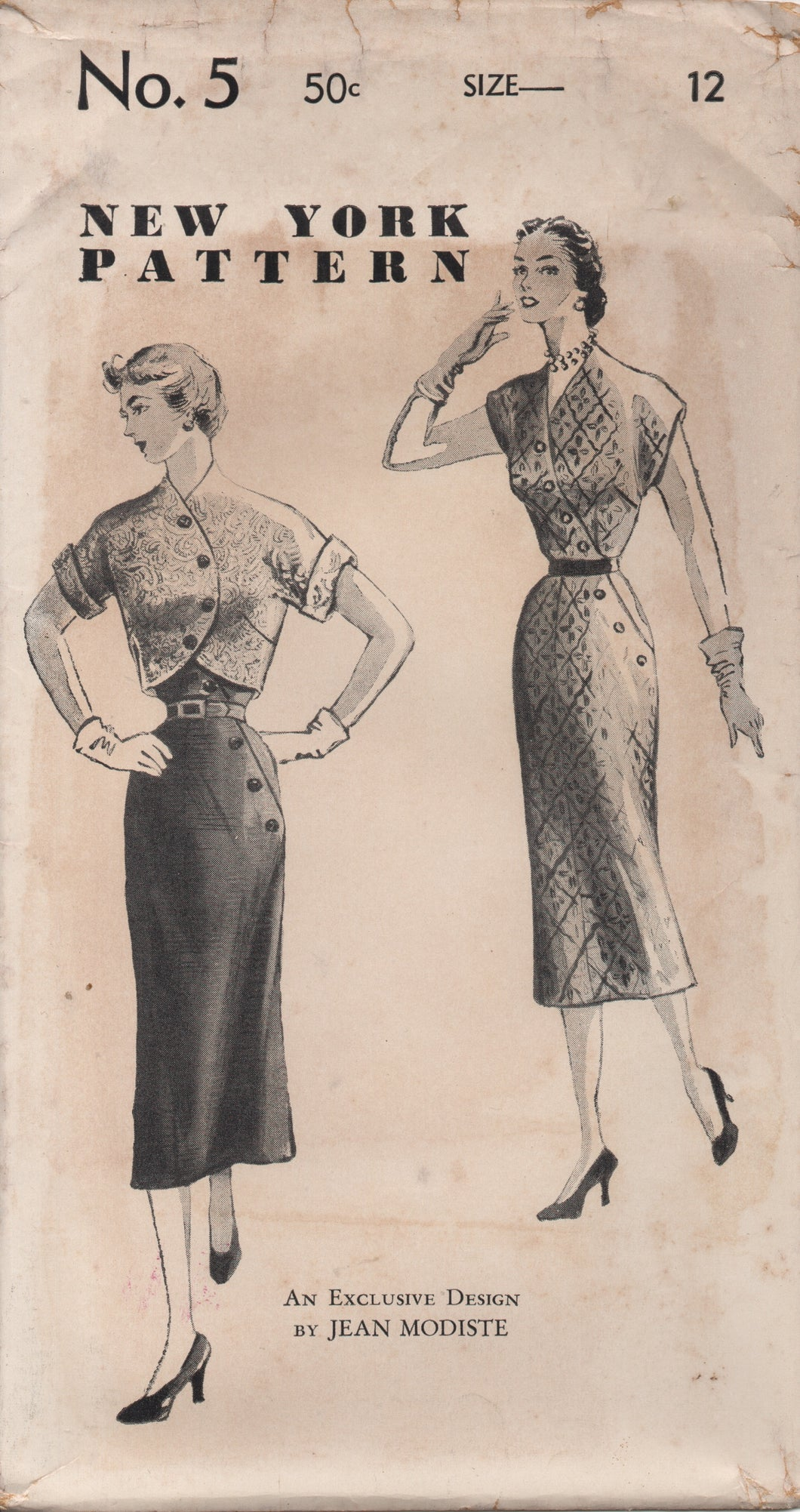 1950's New York by Jean Modiste One Piece Dress with Cross over Button Front and Crop Bolero with Buttons - Bust 30