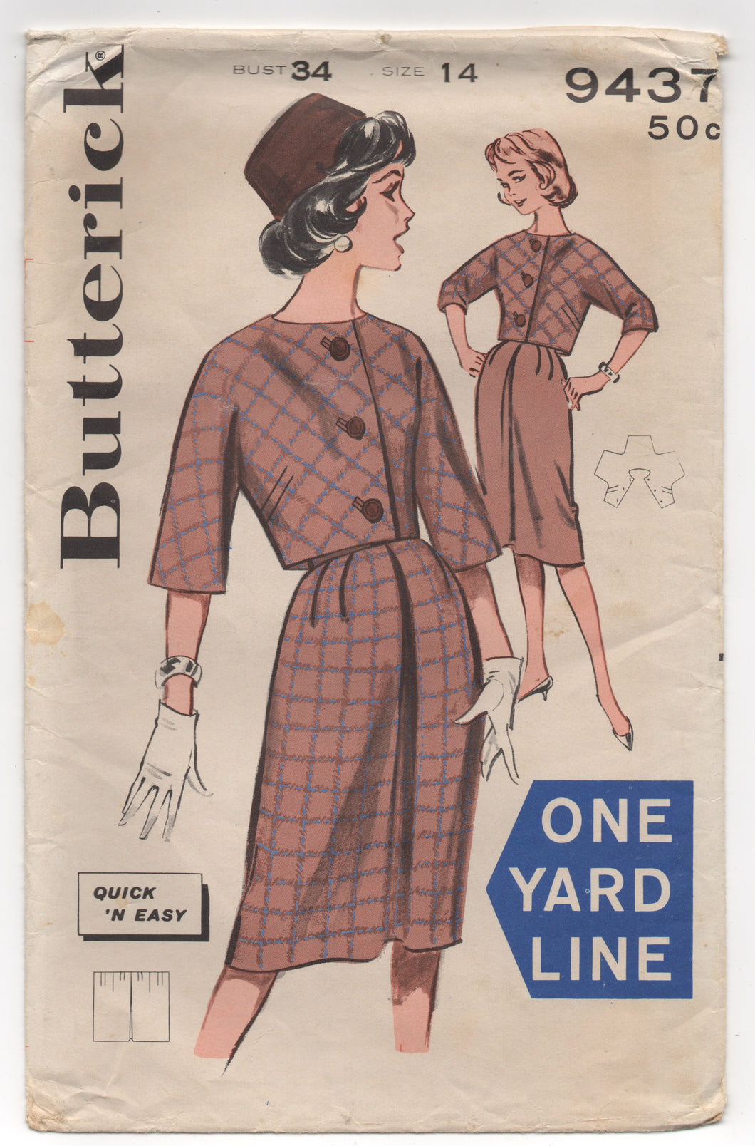 1960's Butterick Jacket with 3/4 Sleeves and One yard Skirt - Bust 34