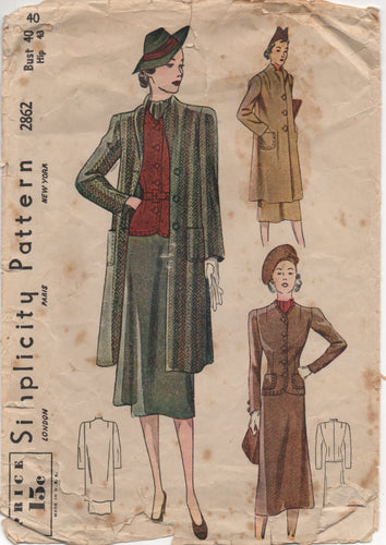 "1930's Simplicity Three Piece Suit with Long Jacket Pattern - Bust 40"" - No. 2862"
