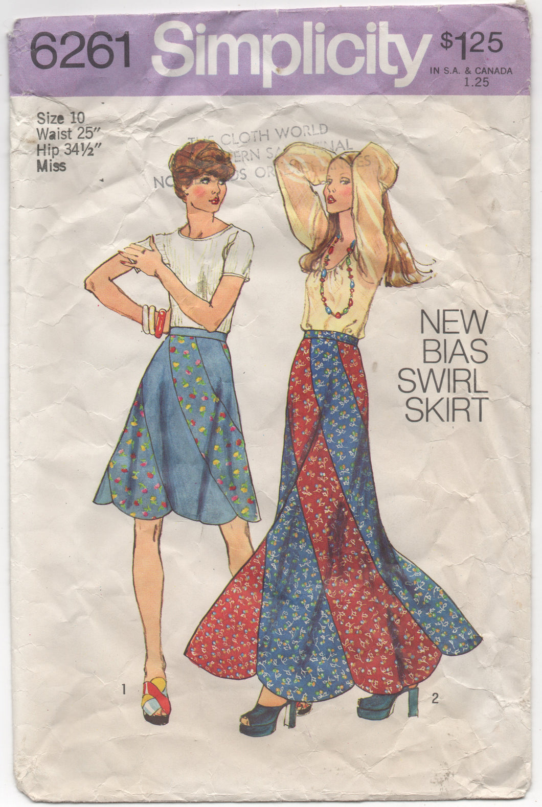 "1970's Simplicity Bias Cut Skirt in Two Lengths - Waist 25"" - No. 6261"