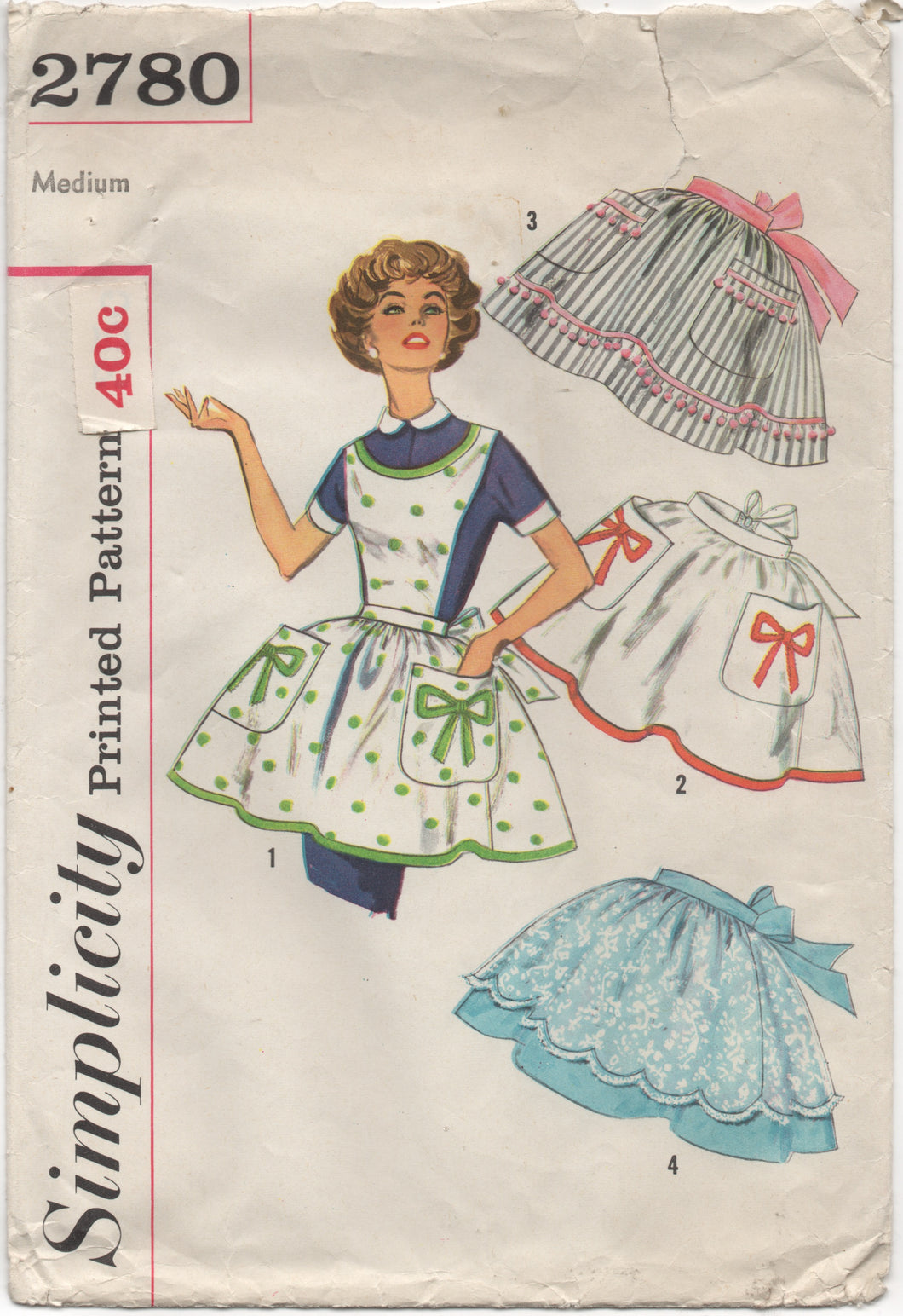 1950's Simplicity Full or Half Apron with Pocket and Bow Transfer - Bust 36-38