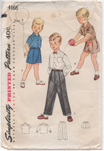 "1950's Simplicity Button up Shirt, Pants and Shorts - Chest 23.5"" - No. 4166"