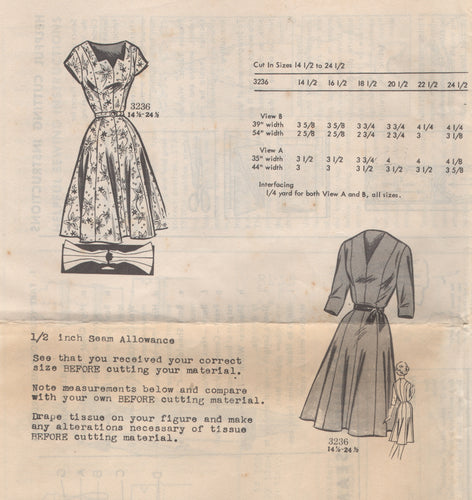 1950's Mail Order One Piece Dress with Cut out neckline and 8 gores - Bust 35