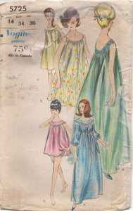 "1960's Vogue Flowing Nightgown in two lengths and Panties - Bust 34"" - No. 5725"