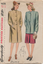 "1940's Simplicity Long or Short Coat with optional collar - Bust 30"" - No. 4606"