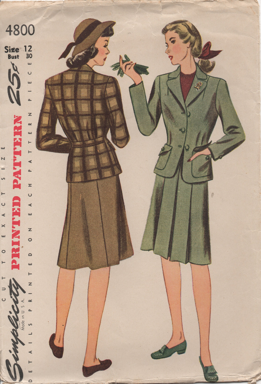 "1940's Simplicity Two Piece Suit with Six Gore Skirt - Bust 30"" - No. 4800"