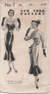"1950's New York by Jean Modiste Wiggle Dress with Circular Flounce Bottom and Two Bodice styles - Bust 32"" - UC/FF - No. 7"