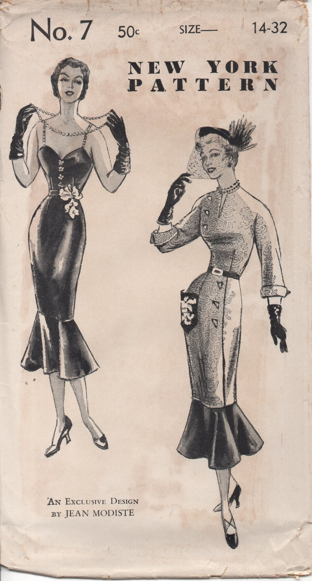 1950's New York by Jean Modiste Wiggle Dress with Circular Flounce Bottom and Two Bodice styles - Bust 32
