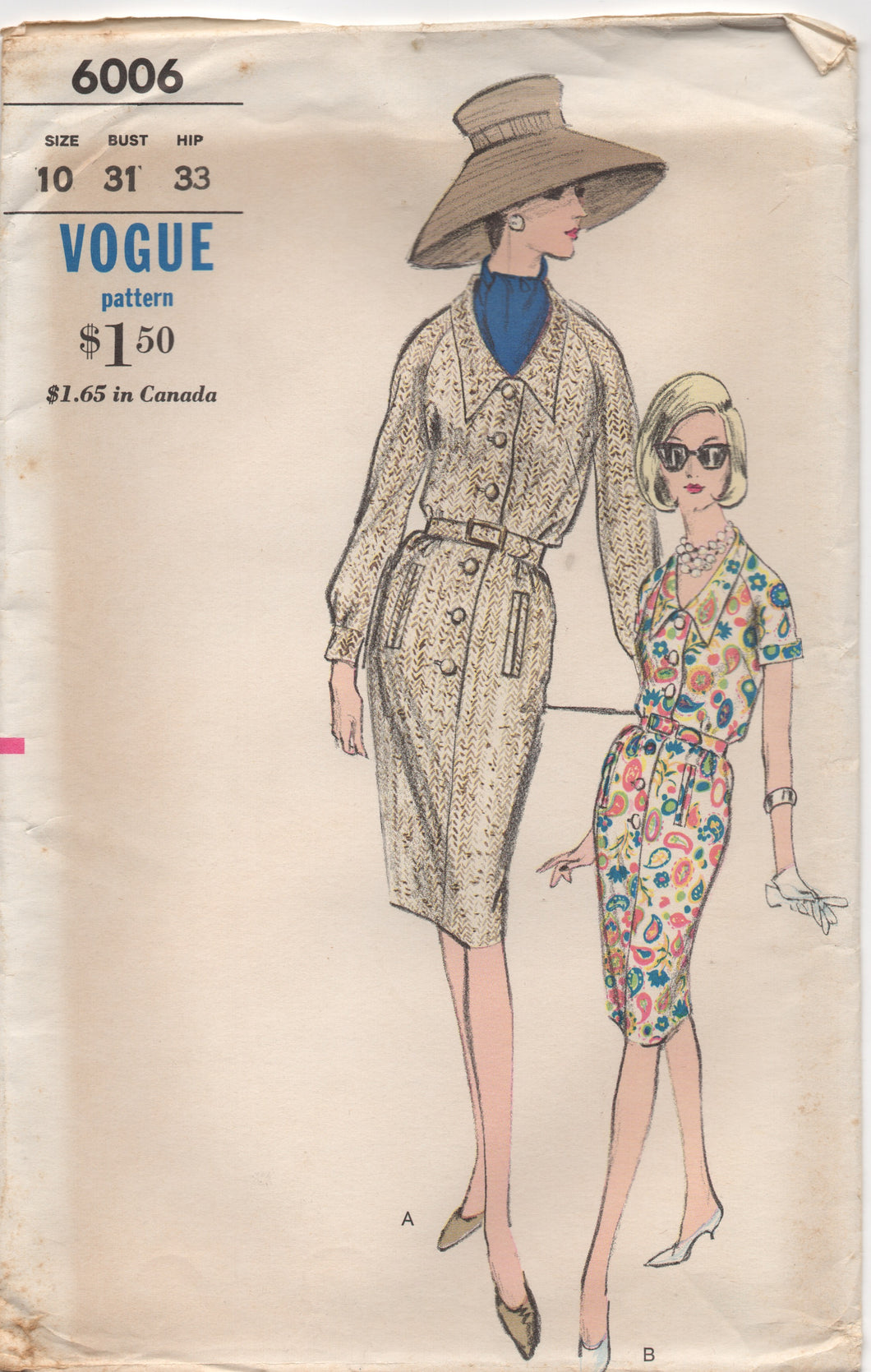 1960's Vogue Shirtwaist Dress with Pockets - Bust 31