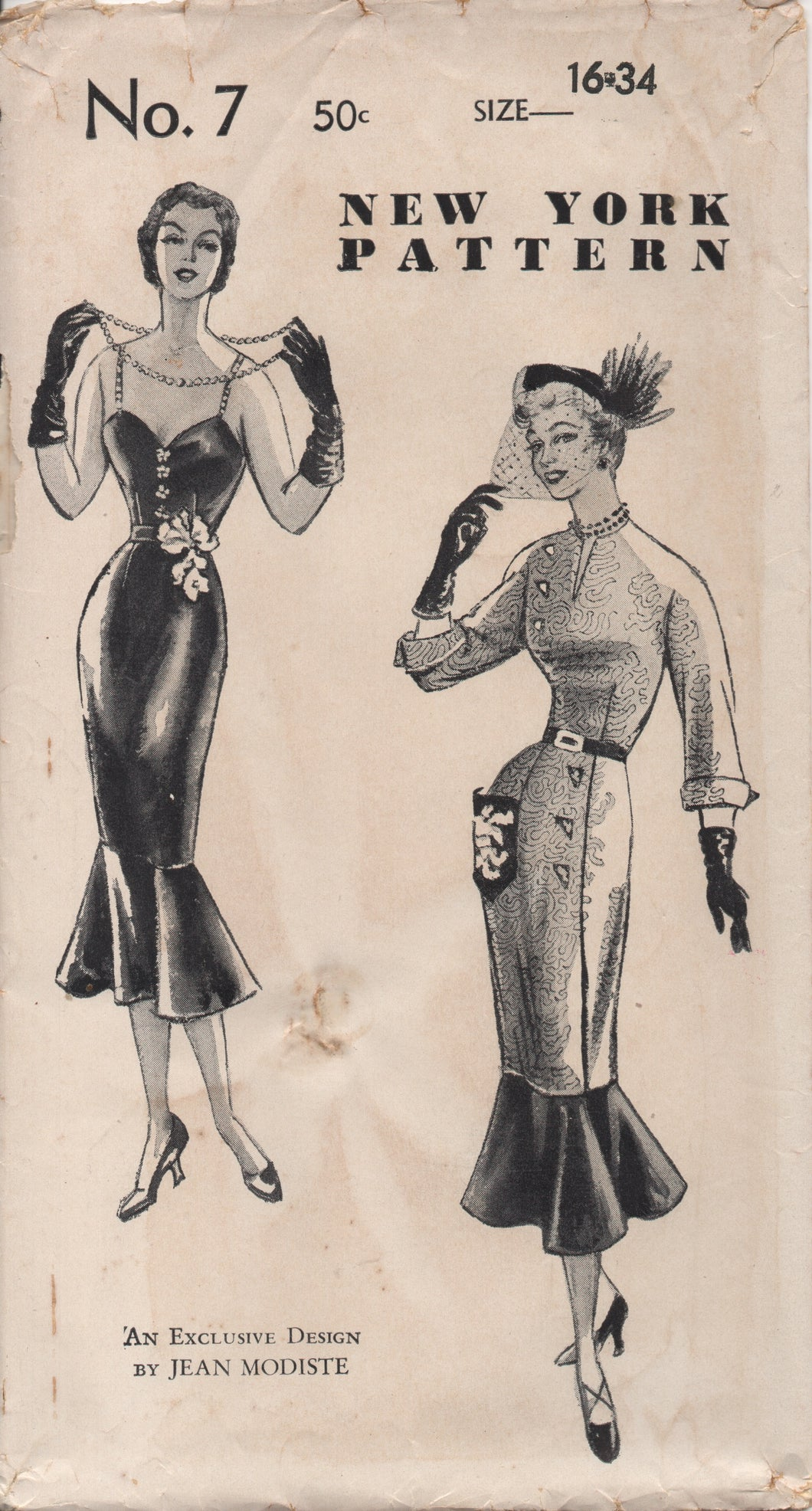 1950's New York by Jean Modiste Wiggle Dress with Circular Flounce Bottom and Two Bodice styles - Bust 34