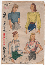"1940's Simplicity Blouse Pattern in 4 Styles, Peter Pan Collar and Bishop Sleeve - Bust 34"" - No. 1906"