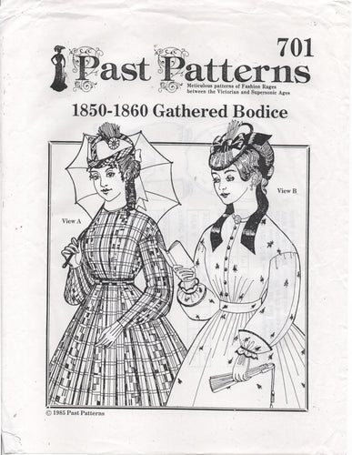 Past Patterns 1850-1860's Gathered Blouse with Two Sleeve lengths - Bust 36.5