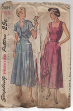 "Bust 42"" - 1940's Simplicity One Piece Dress with Scallop Neckline and Pockets and Bolero - #2884"