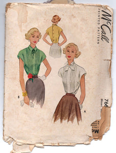 "1940's McCall Blouse with Back Button detail pattern - Bust 34"" - No. 7669"