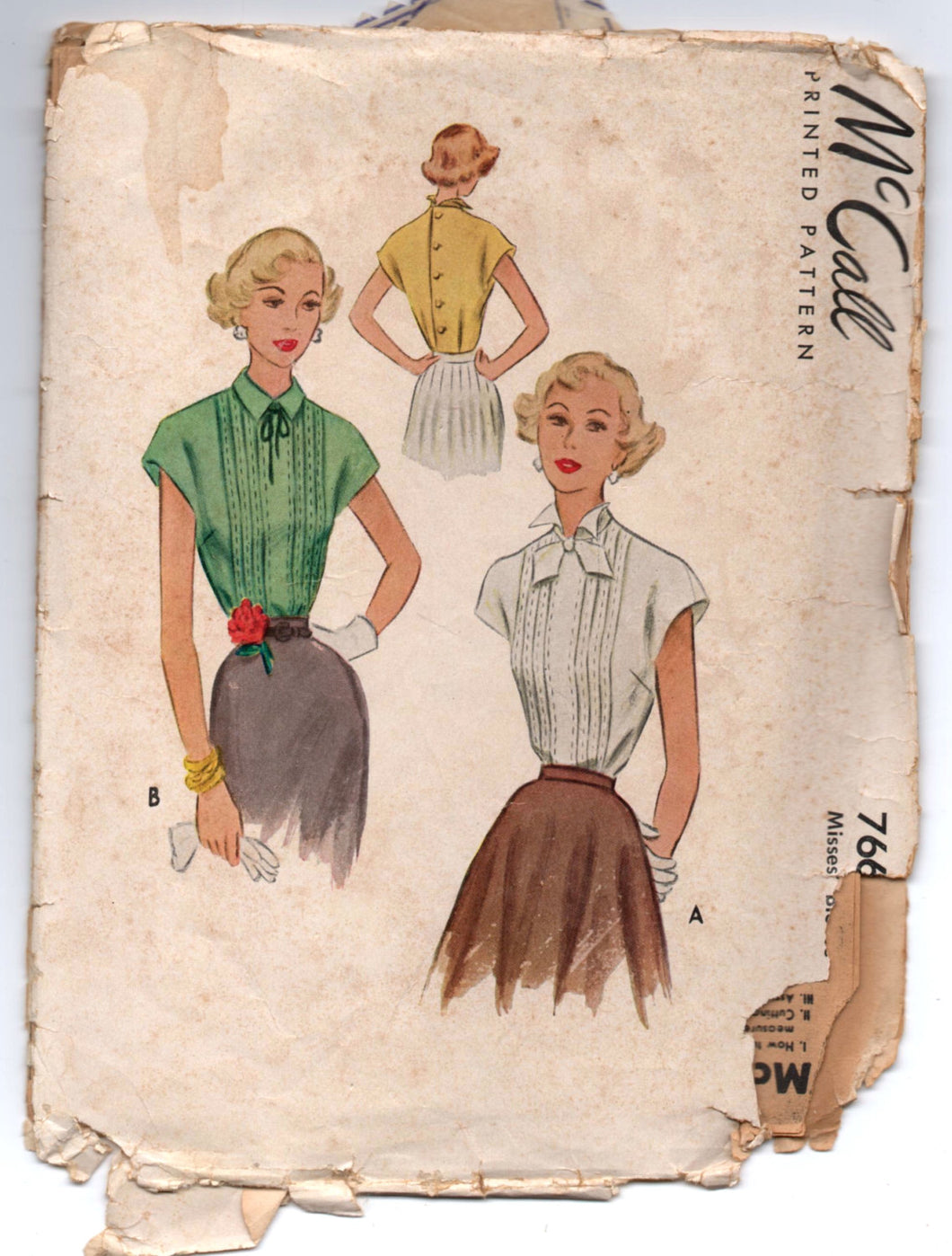 1940's McCall Blouse with Back Button detail pattern - Bust 34