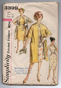 "1960's Simplicity One-piece Dress with curved neckline and Coat pattern - Bust 32"" - UNCUT - No. 3399"