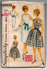 "1960's Simplicity One-Piece Dress with Bow detail and button up back pattern - Bust 31.5"" - UNCUT - No. 3909"