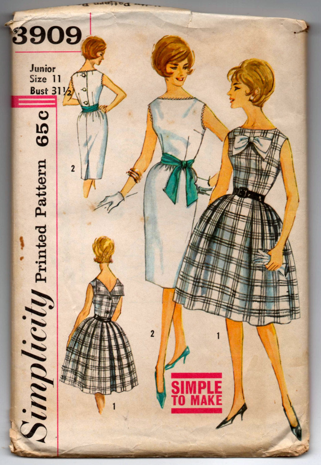 1960's Simplicity One-Piece Dress with Bow detail and button up back pattern - Bust 31.5