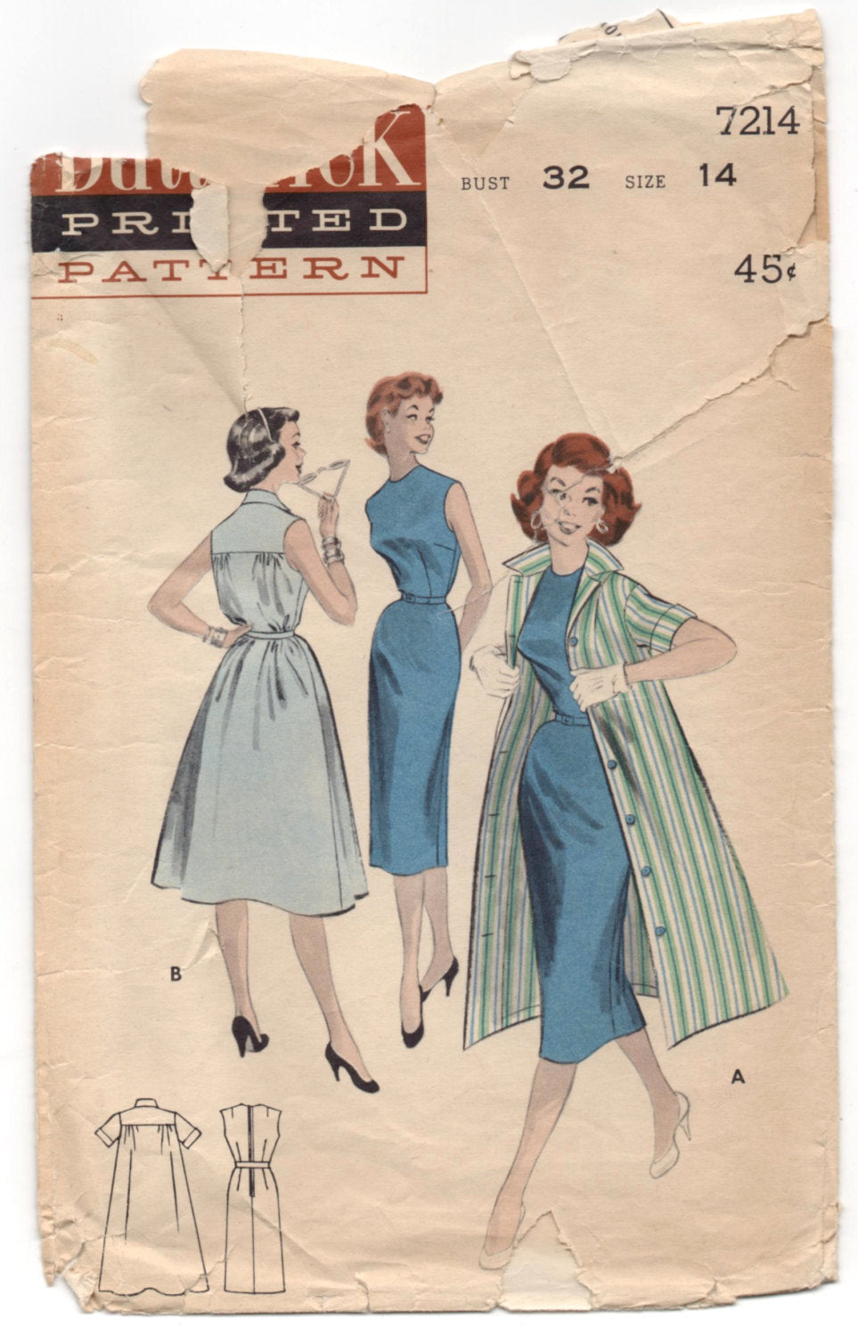 1950's Butterick One-Piece Dress and Coat pattern - Bust 32