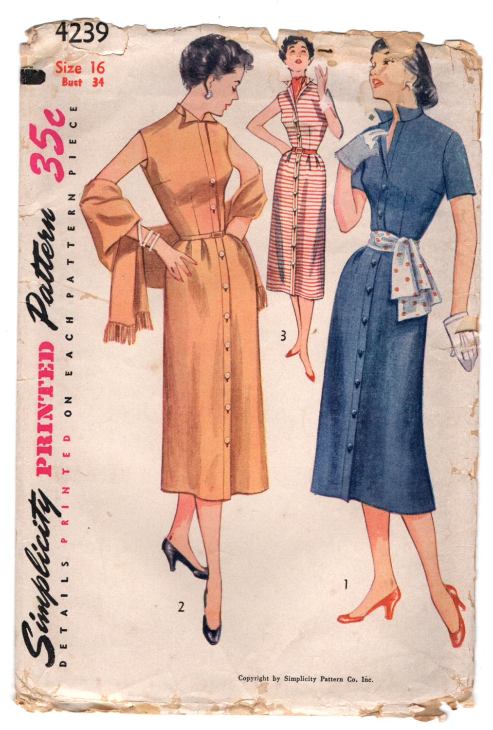 1950's Simplicity One Piece Dress and Stole pattern - Bust 34