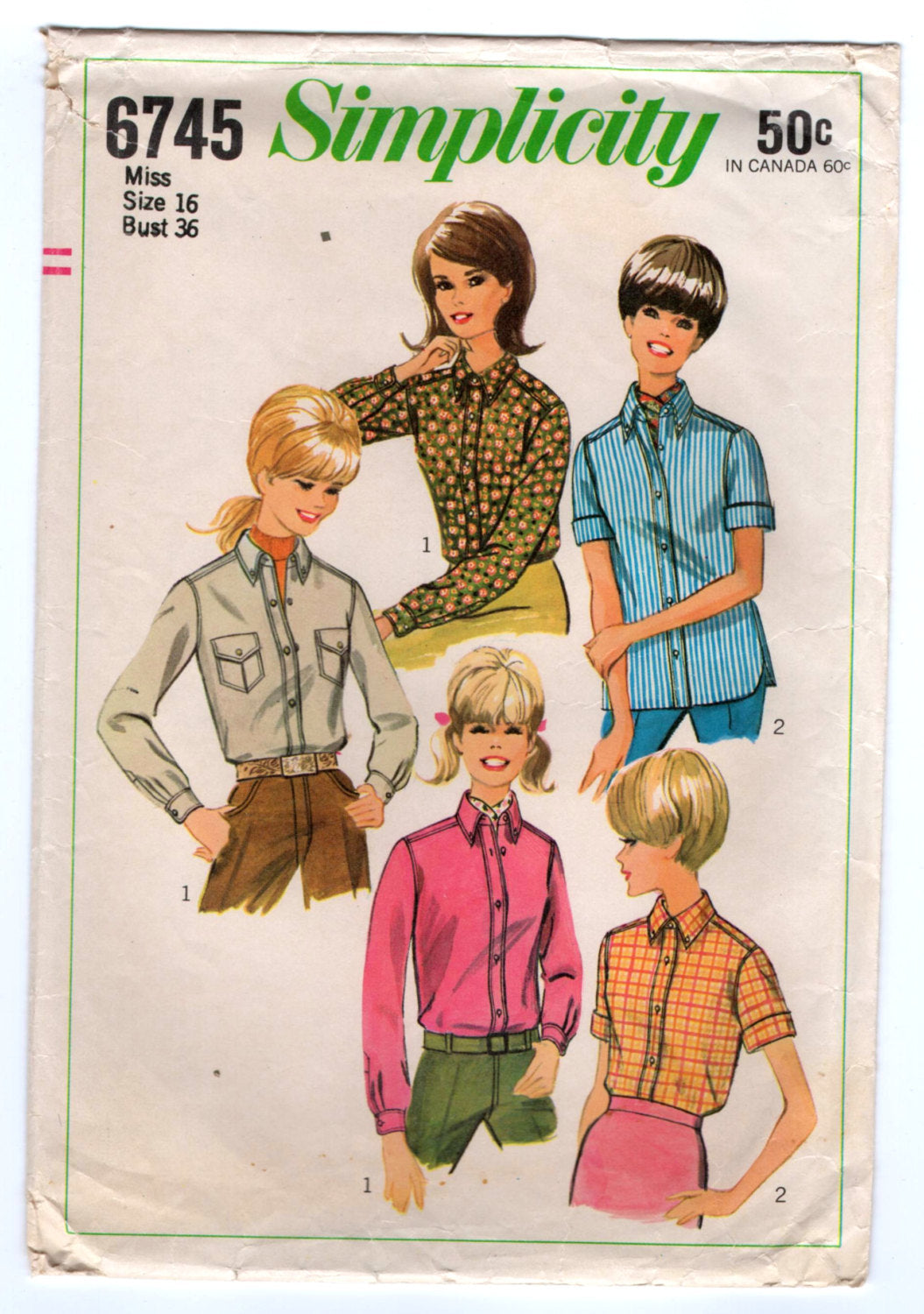 1960's Simplicity Button Up Blouse with Front Pockets and Two Sleeve lengths Pattern - Bust 36