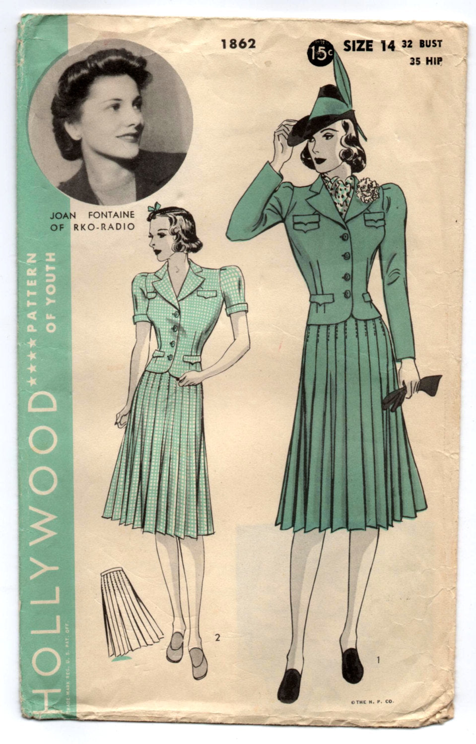 1940's Hollywood Two-Piece Suit Pattern - Bust 32