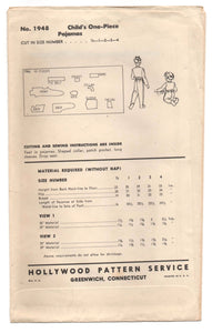 1940's Hollywood Pajama pattern - 4 years - No. 1948