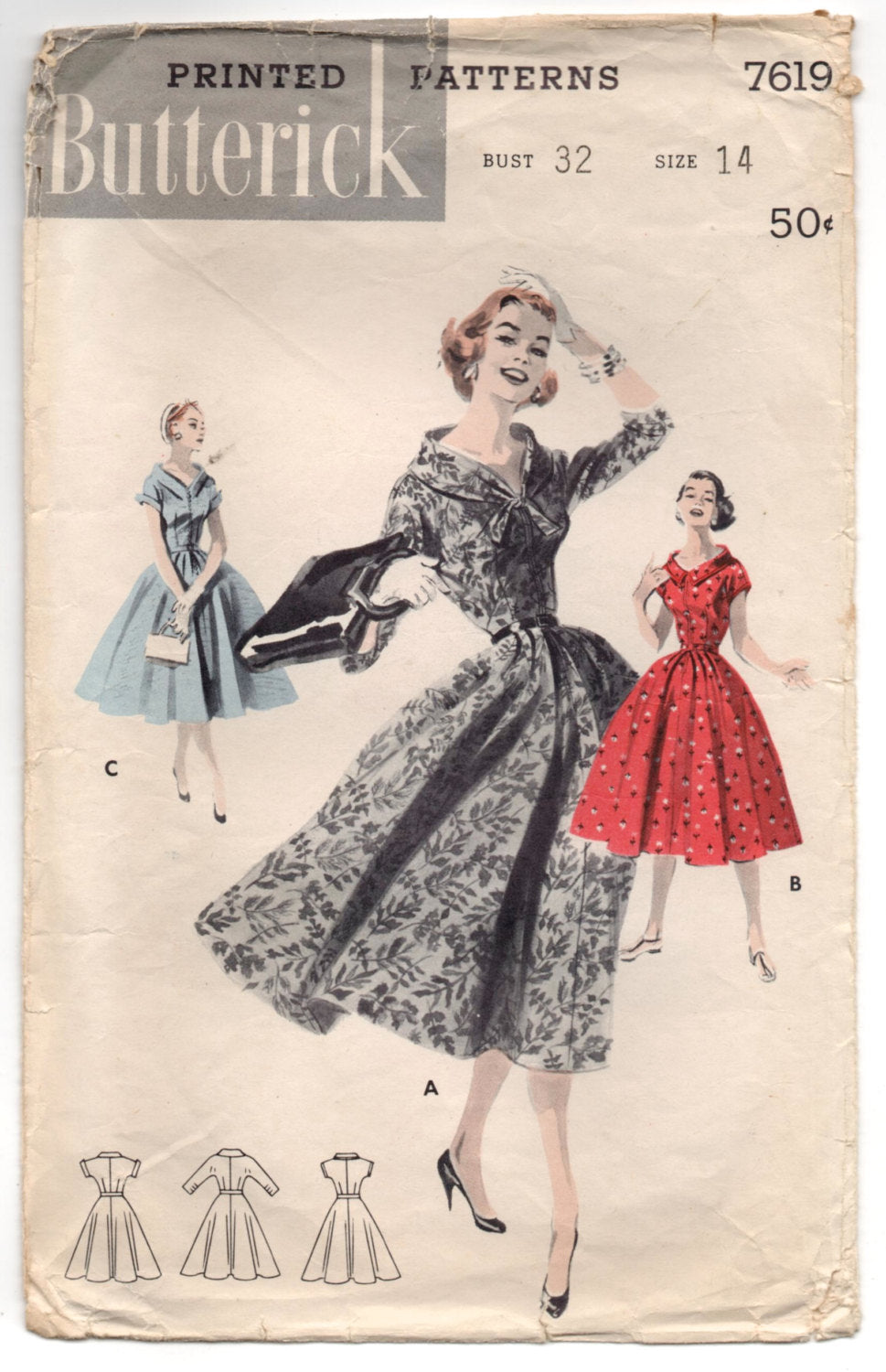 1950's Butterick One-Piece Dress with Wide Neck and Full Skirt - Bust 32