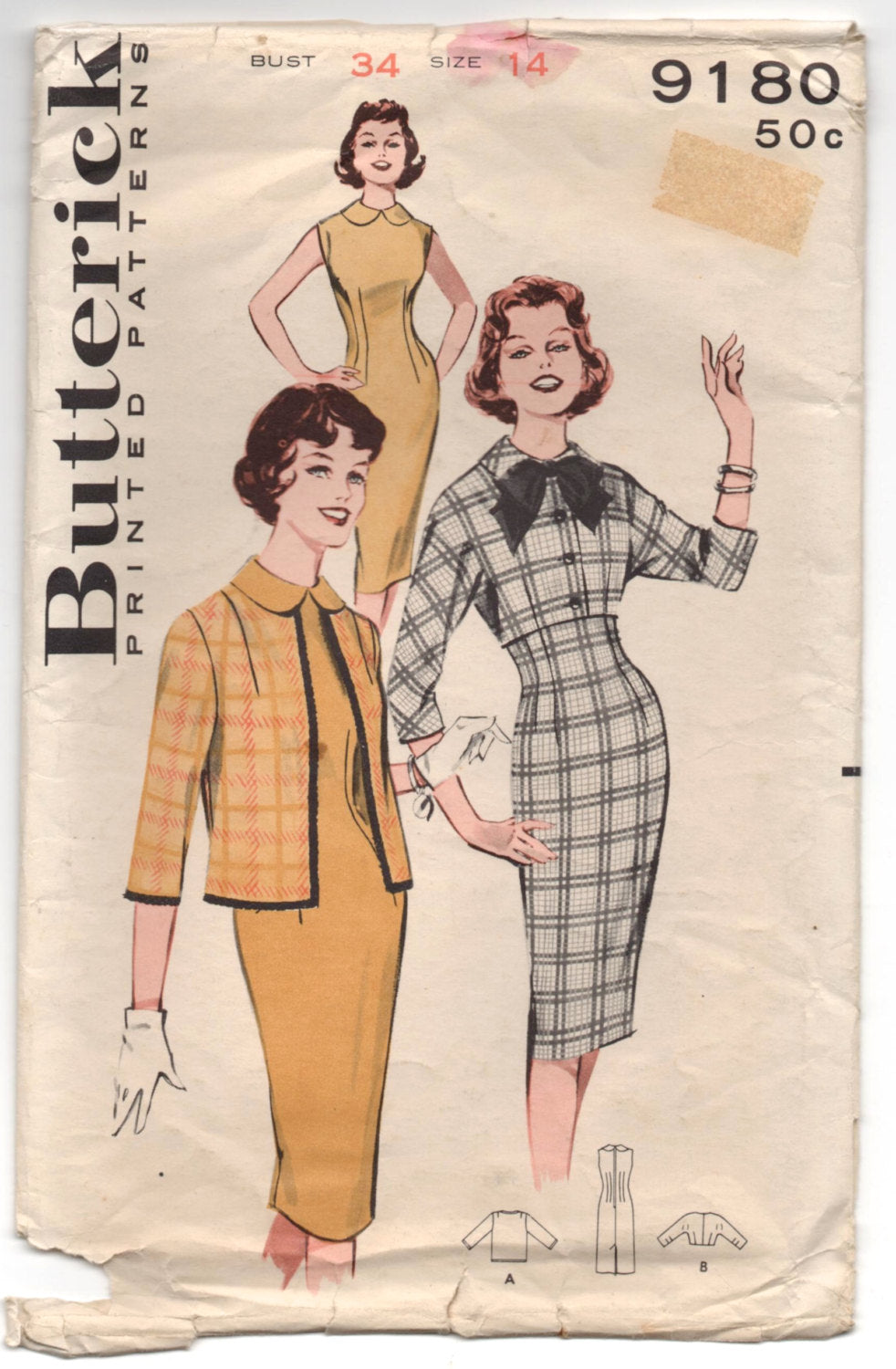1960's Butterick One-Piece Wiggle Dress and Jacket Pattern - Bust 34