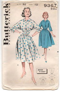 "1960's Butterick One-Piece Button Up Rockabilly Dress Pattern - Bust 32"" - UC/FF - No. 9367"